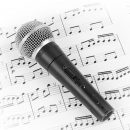 fontgraf141100108.jpg - dynamic microphone on music sheet