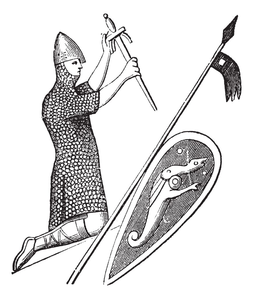 morphart150300347.jpg - old engraved illustration of the seal of king william the conqueror which is preserve in england. industrial encyclopedia e.-o. lami ? 1875.