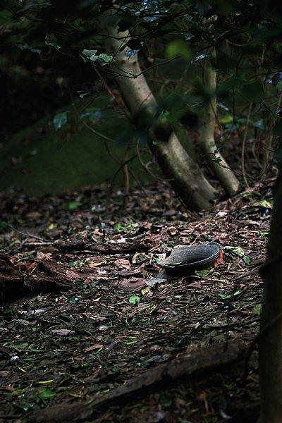 島内の祭祀遺跡には、土器や須恵器の破片がいまも散乱する(撮影■阿部伸治)