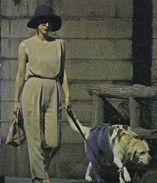 愛犬を連れて散歩する滝川クリステル