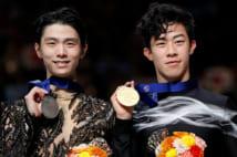 完璧な演技のはずが、ネイサン・チェン(右)に負けた羽生結弦(写真/アフロ)