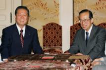 福田との連立協議(AFP=時事)