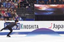 4Kカメラで計測されたジャンプの軌跡は約30秒後に中継用で撮った映像と組み合わせて画面に表示される。※写真は世界チャンピオンのネイサン・チェン選手(画像提供/Qoncept )