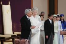 「退位礼正殿の儀」でお言葉を述べられる前天皇陛下と前皇后美智子さま