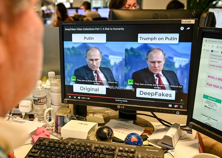 右が露・プーチン大統領のディープフェイク動画(AFP=時事)