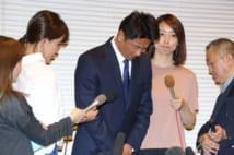 記者会見で不倫を素直に認める原田龍二
