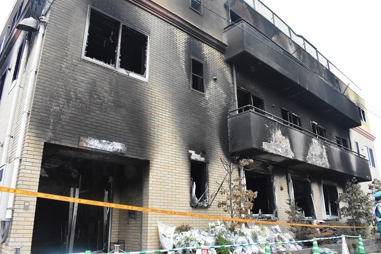 放火された京都アニメーション第一スタジオ(時事通信フォト)