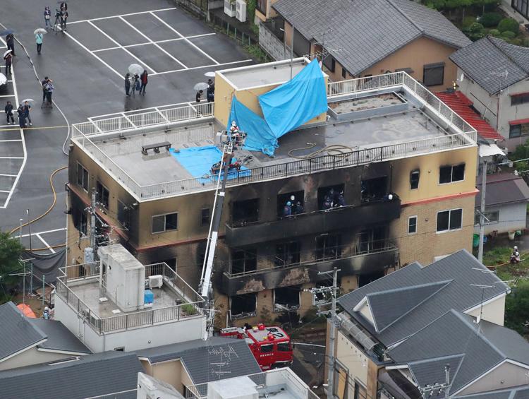 爆発火災があったアニメ制作会社「京都アニメーション」のスタジオ(時事通信フォト)