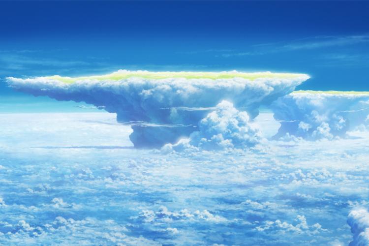 劇中で描かれている「かなとこ雲」。成長した積乱雲の頂上部分が広がって平らになっている(C)2019「天気の子」製作委員会