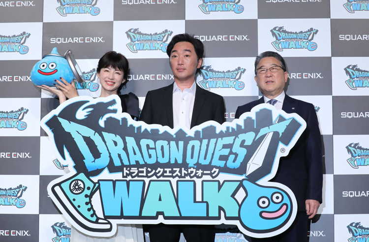 「ドラゴンクエストウォーク」新作発表会の様子(時事通信フォト)
