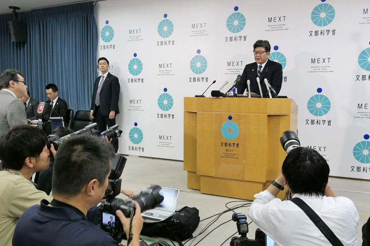 英語民間試験の導入見送りを発表した萩生田光一文部科学相(時事通信フォト)