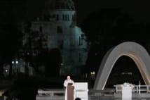 ローマ教皇の姿に感動した人も多い(写真は広島での演説。撮影/小倉雄一郎)