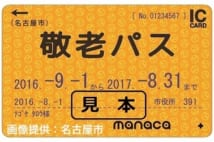 名古屋市敬老パスの色はゴールドで電子マネーチャージもできる