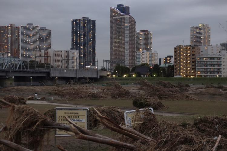 2019年10月の大型台風で浸水被害などに遭った武蔵小杉のタワマン群(時事通信フォト)