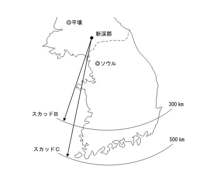 北朝鮮の短距離弾道ミサイル「スカッド」の射程範囲