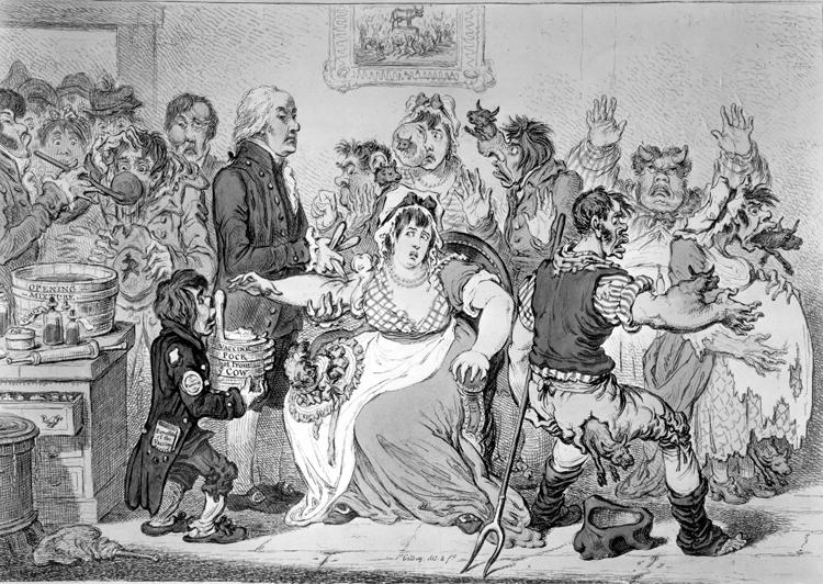 牛痘を用いた天然痘の予防接種に殺到する人々を描いたイギリス人画家の風刺画(写真/AFLO)