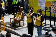 元慰安婦による告発後、初めて行われた水曜集会。報道陣も多く詰めかけた(EPA=時事)
