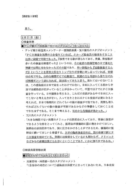 『羽鳥慎一モーニングショー』の内容などを記録した文書