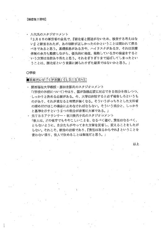 『ひるおび』の内容などを記録した文書