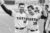 1980年の巨人投手陣を牽引した江川卓(左)と西本聖の両エース(時事通信フォト)