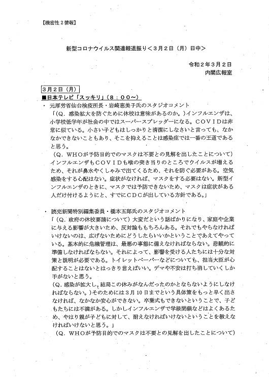 3月2日には日本テレビ「スッキリ」の会話も記録