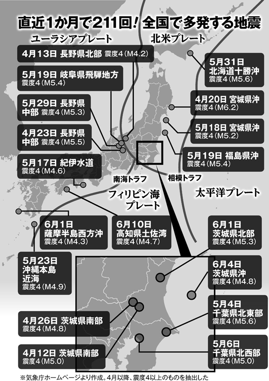 直近1か月で211回、全国で多発する地震