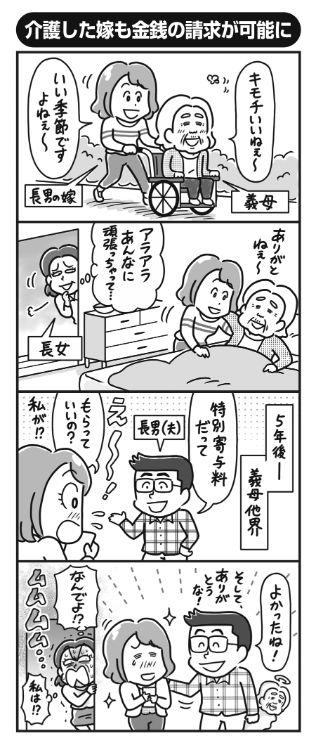 長年介護してきた嫁が報われる(イラスト/ニシノアポロ)