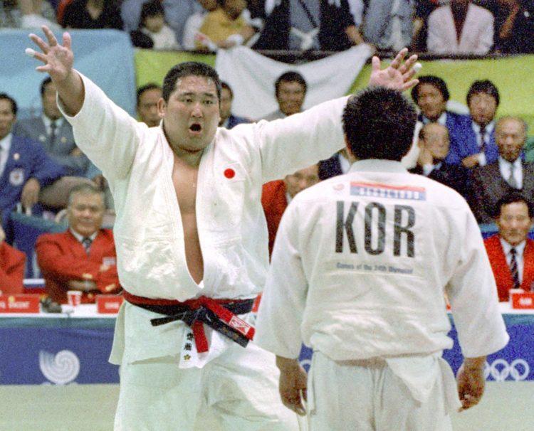 仁さんが金メダルを獲得したソウル五輪での一試合(1988年、共同通信社)