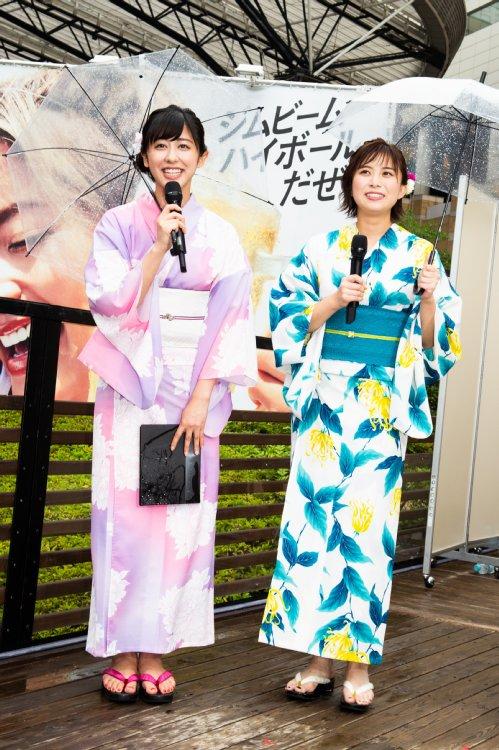 浴衣姿のテレビ朝日・斉藤ちはるアナと山本雪乃アナ