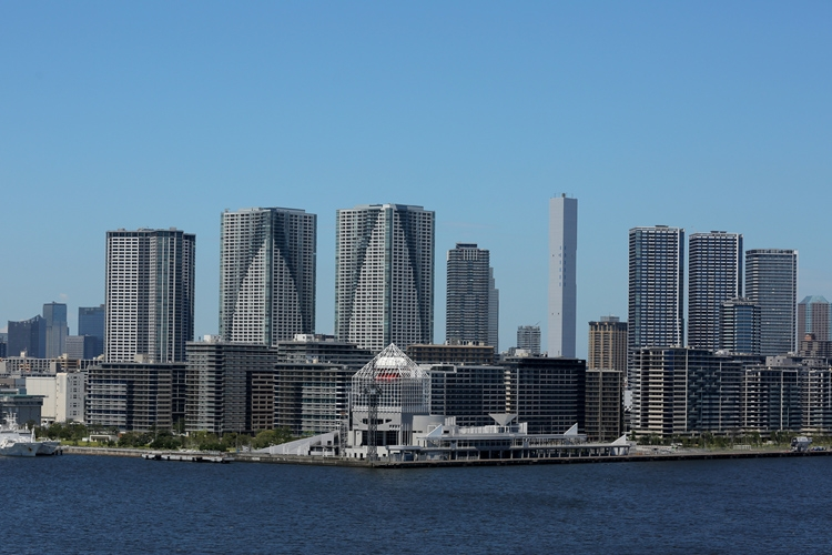 タワマンが建ち並ぶ晴海、勝どき、月島方面の東京・湾岸エリア(時事通信フォト)