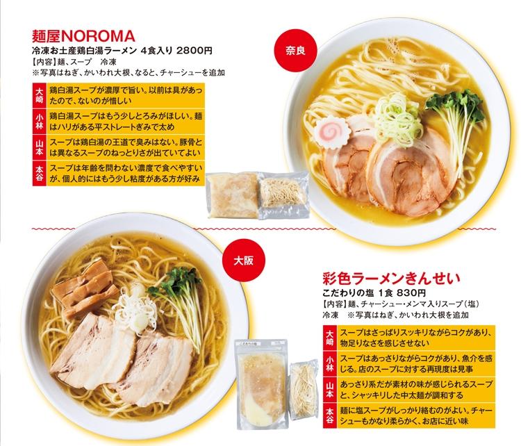 奈良の「麺屋NOROMA」、大阪の「彩色ラーメンきんせい」