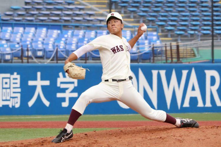 六大学の「ドクターK」、早大の早川隆久投手(時事通信フォト)