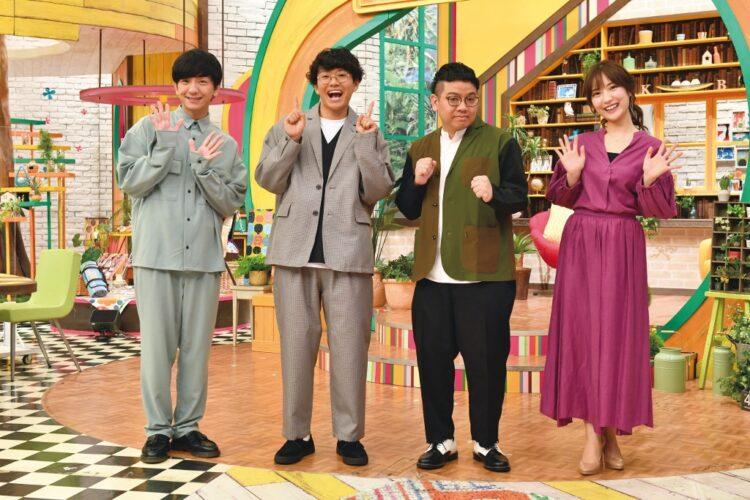 新番組『真夜中のブランチ』で進行役を務める。左からMCの向井慧(パンサー)、ミキの亜生・昴生