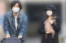 子供を大事そうに抱く北川景子とベビーカーを押すDAIGO