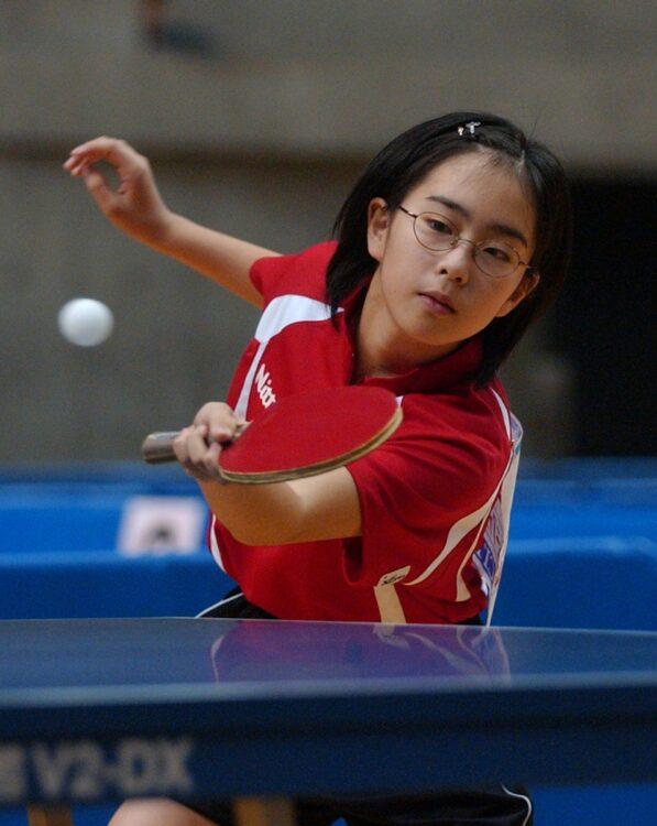 小学6年生で全日本選手権に初出場。見事3回戦に進出し、「愛ちゃん2世」として大きな話題に(時事通信フォト)