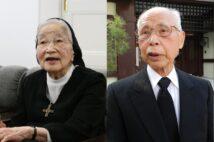 事件で殺害された渡辺錠太郎・陸軍教育総監の娘・和子さん(故人)と、安田優少尉の弟・善三郎さん(時事通信フォト)