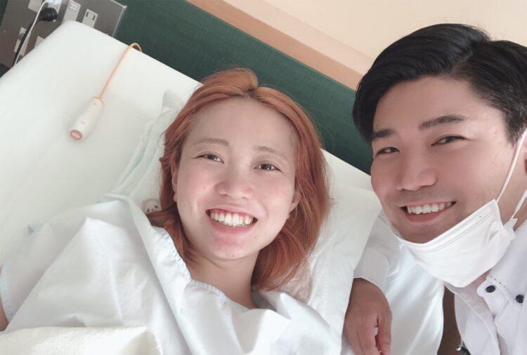 夫婦で支え合い出産に臨んだ(2020年7月)