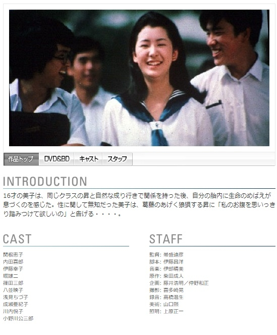 関根恵子デビュー作の『高校生ブルース』(画像は角川映画HPより)