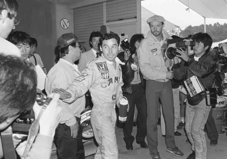 1987年、日本GPで入賞した中嶋悟(時事通信フォト)