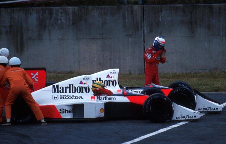 1989年日本GPで衝突したセナとプロスト(写真=Sutton Motersport Images/AFLO)