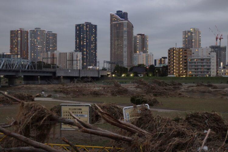 2019年10月の台風で浸水被害に見舞われた武蔵小杉のタワマン群(時事通信フォト)
