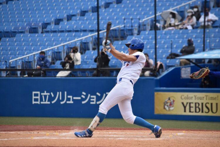 東都大学春季リーグで2試合連続ホームランの鮮烈デビューを果たした佐々木泰内野手(写真提供/青山学院大学硬式野球部)