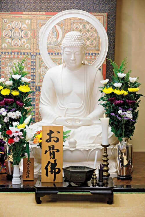 本寿院は遺骨の一部を仏像の中に納めるという、関東では珍しい骨仏の寺院。その他の遺骨は霊符山尊星王院(栃木県日光市)に樹木葬で埋葬される