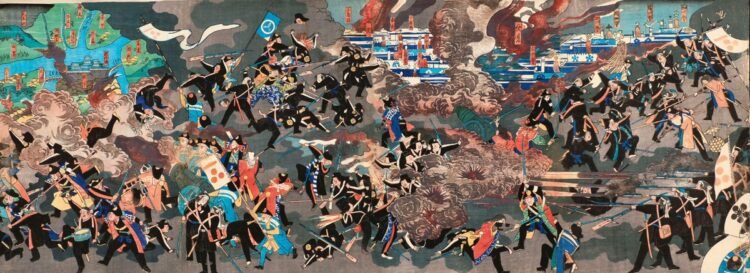 鳥羽・伏見の戦いを描いた錦絵『毛理嶋山官軍大勝利之図』(照皇斎国広作、1868年。写真=首藤光一/AFLO)