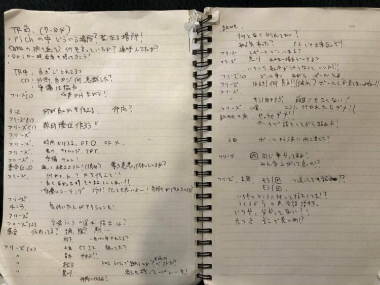 『教えないスキル』を参考にして柏ラッセルFCで作られた指導中の発言をメモしたノート