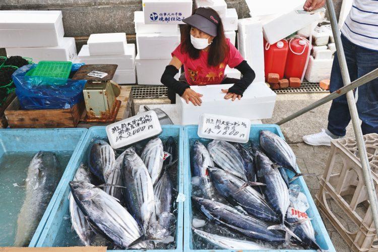 新鮮な魚や野菜がずらり