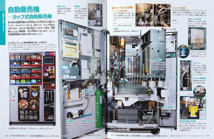『小学館の図鑑NEO+ぷらす 分解する図鑑』(2020年刊)の「自動販売機」のページ