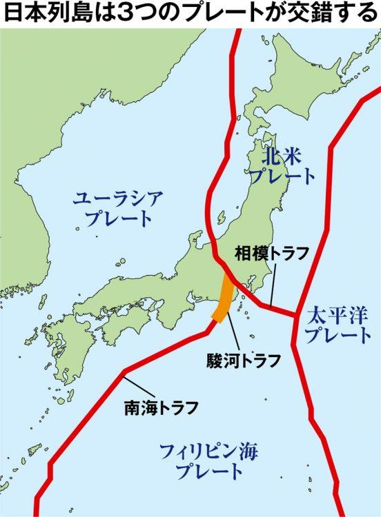 首都圏の地下では3つのプレートが交錯し、大地震の震源となる可能性が…