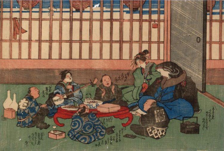 ナマズと地震の関連は古くから信じられていた(大工がナマズを接待する風刺画/国際日本文化研究センター所蔵)