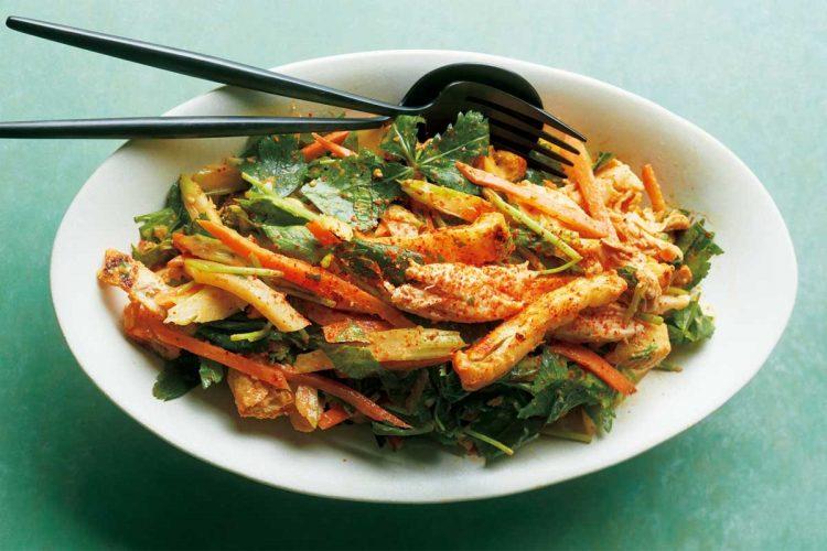 ささみと根菜のピリ辛韓国風サラダ